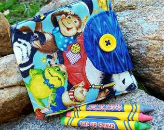 Crayon Wallet, Kids Crayon Billfold, Animal Wallet, Kid's crayon roll
