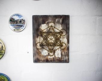 Metatron, Sacred geometry, Metatron's Cube, Gift for him, Boyfriend gift, Husband gift, Boho decor, Bohemian decor, Meditation, Wood art