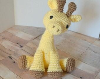 Yellow Giraffe Plush, Giraffe Stuffed Animal, Crochet Giraffe Amigurumi, Giraffe Toy, Soft Toys for Baby, Baby Shower Gift, Made to Order