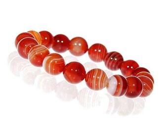 Orange Sardonyx Bracelet, 10mm Sardonyx Jewelry, Sardonyx Bracelet Women, Orange Beaded Bracelet, Gemstone Stretch Bracelet, Wrist Mala Bead