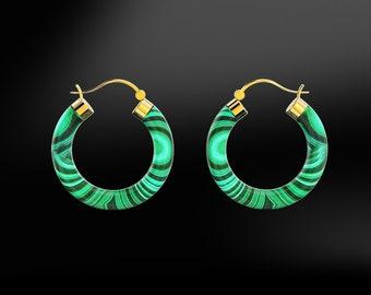 MALACHITE Hoop Gold Earrings