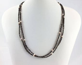 Minimalist Long Beaded Necklace. Faceted Brown Tinted Pyrite Beads. Freshwater Pink Pearls