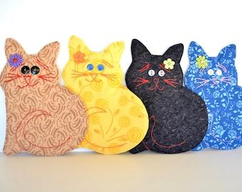 Cat lover gift, for teacher, Cat coaster, black yellow cat, fabric drink mat, kitten mug rugs, whimsical, thank you gift