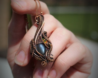 Grey Moonstone and Flashy Orange Mexican Fire Opal Oxidized Copper Wire Wrapped Gemstone Necklace