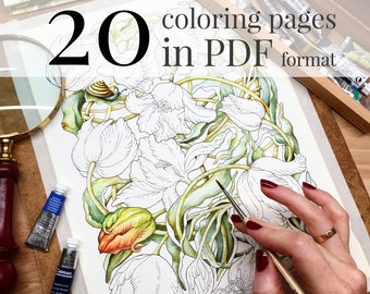 "Coloring book ""Botanical weave"". Coloring pages for adults. LineArt Instant Download Printable. PDF included 20 A4 illustrations"