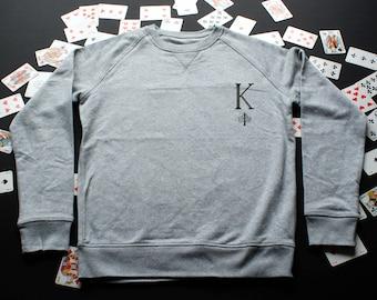 King Capsule collection / / Sweatshirt / / man / / organic cotton / / organic ink / / gray / / handmade Illustration / / Graphic / / linework / / dotwork OcIJa3tU