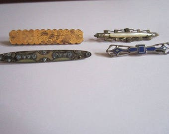 Antique Victorian Edwardian Brooch Lot of 4 Assorted Bar Pins