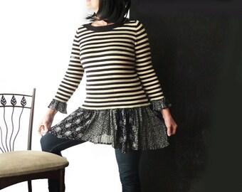 Black beige stripe sweater w skirt, black & white floral skirt, medium large, one of a kind, upcycled, girly, feminine, lagenlook, boat neck