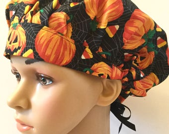 Halloween! Pumpkins and Candy Corn! Women's Surgical Scrub Hat, Bouffant Style