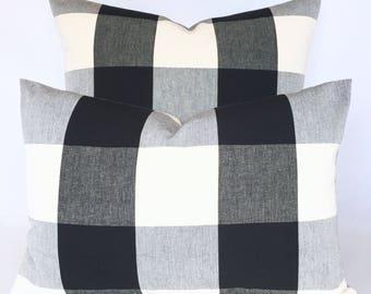 Buffalo Check Plaid Pillow Cover in Black & Warm White