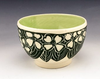 Sgraffito Cereal Pottery Bowl in Green and White Dogwood Flowers