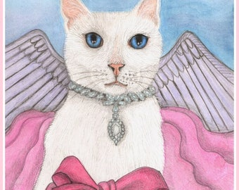 Rommy Miracles Mommy, Heaven Angel Cat, Rainbow Bridge, Loss of Beloved Pet -  Card or Print, Watercolor, Item #0637a