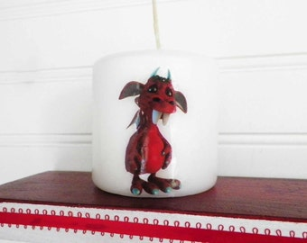 Kids Decor, Decorative Candle Featuring 'Candy' the Red Monster Kid.  Part of A Collection for Children's Room, Playroom, or Nursery