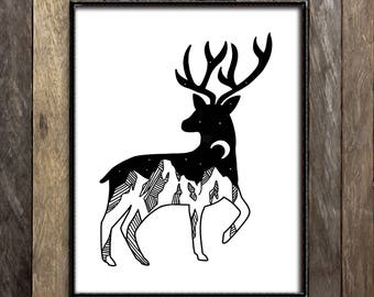 Elk Prints, Mountain Landscape, Deer Antlers, Night Sky Print, Moon Print, Illustration Print, Deer Nursery Decor, Black and White, Starry