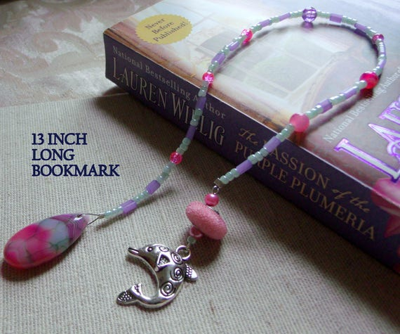 Dolphin charm  bookmark - pink agate page marker - gemstone - Book club gift -  Girl -wife - student - teardrop - reading club -  fish
