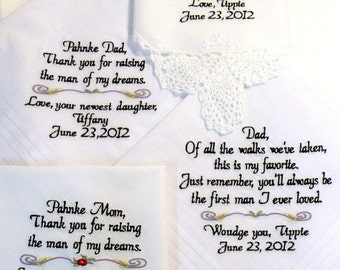 Embroidered Wedding Handkerchiefs Mom and Dad Wedding Gift Future In-Law Wedding Gifts Wedding Handkerchiefs Mom Dad By Canyon Embroidery
