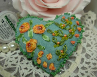 Silk Ribbon Flower embroidered Felt Brooch 'PEACHY' with Glass beads, Swarovski Crystals & hand embroidered pastel sage green heart Brooch