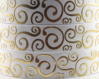 "7/8"" 22mm Geometric-Grosgrain Ribbon-by yard-Craft Supplies-Scrapbook-HairBow-Girl-White Gold"