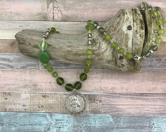 Green Jesus necklace,Silver,Rosary style,Christian,jewelry,religious,boho,bohemian,gift for her,
