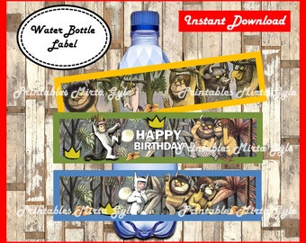 Where The Wild Things Are Water Bottle Label, printable party Water Bottle Label, Where The Wild Things Are Bottle Labels