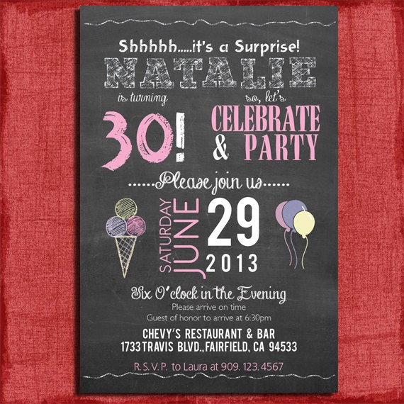 Surprise 21st 30th 40th 50th chalkboard style birthday like this item filmwisefo Choice Image