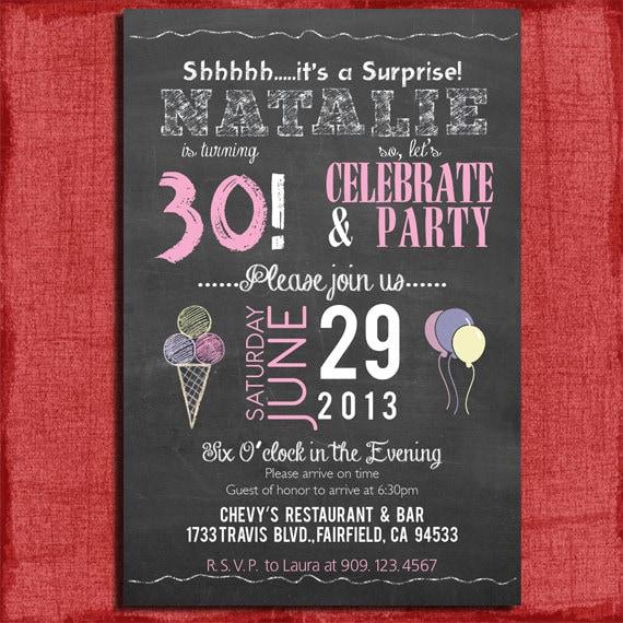 Surprise 21st 30th 40th 50th chalkboard style birthday filmwisefo