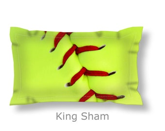 Softball Pillow Sham-Yellow/Green Softball-Sports Pillow Sham-Standard Sham-King ShamSports Bedding-Girls Room Decor-Dorm Bedding