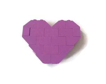 Lavender Heart LEGO Brooch