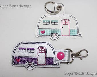 ITH Camper RV Key Fob Design Machine Embroidery