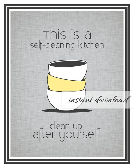 Items similar to Self Cleaning Kitchen Sign / Printable ...