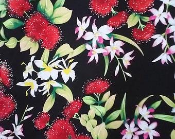 Hawaiian Print Cotton Fabric (Yardage Available)