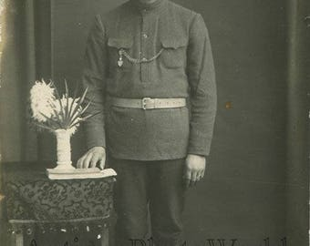 Mustached Royal Russian soldier in uniform antique WWI photo
