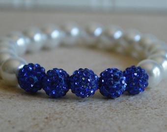 Royal Blue and White Pearl Bracelet