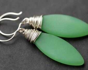 Seafoam Seaglass Earrings. Green Seaglass Dangle Earrings. Marquis Style Frosted Earrings. Wire Wrapped Earrings. Handmade Jewelry.