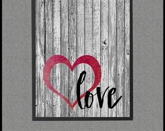 Barnwood Art, Barn Wood Sign, Love Quote, Love Sign, Red Heart, Heart Art, Barn Wood Art, Printable Art, Quote Print, Barn Wood Wall Art