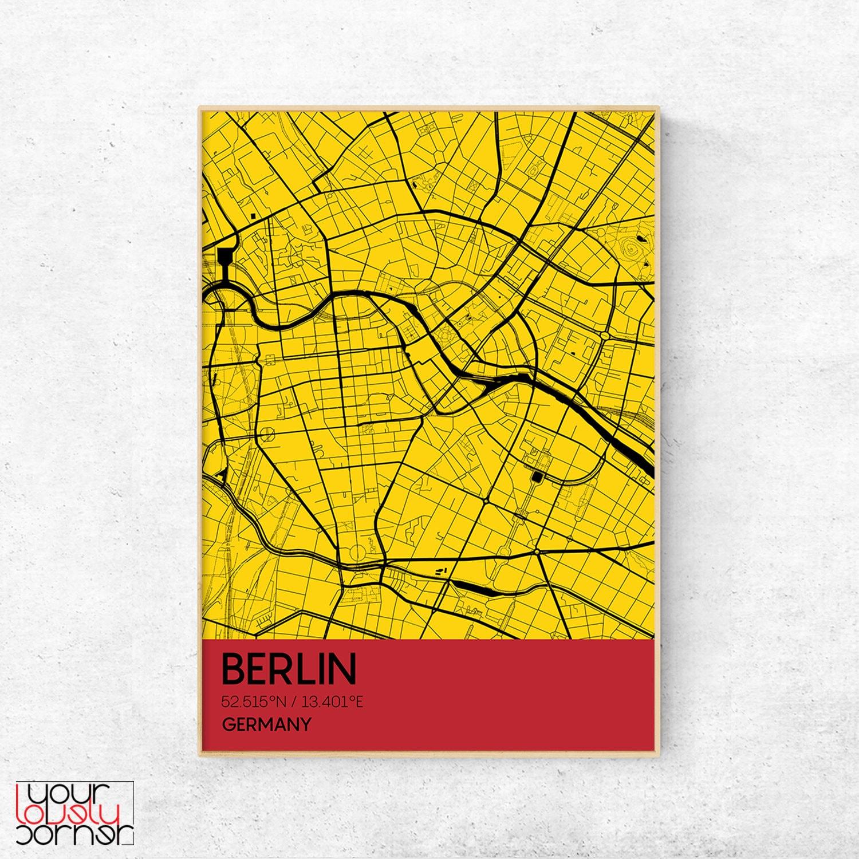 Berlin city national color map modern wall art Printable