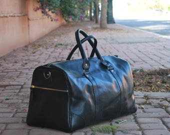 Leather Travel Bag ,leather duffle bag, 100% Full Green Leather bag, Weekender Bag ,Overnight Holiday Vacation Duffel bag