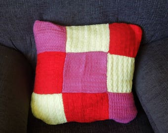 Knitted pillow, cushion cover, handmade, pink, red, yellow