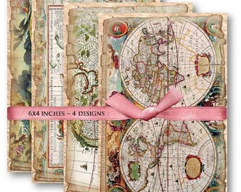 Old World Maps Digital Collage Sheet Download -464- Digital Paper - Instant Download Printables