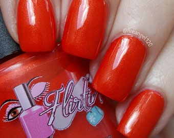 """Indie Polish - Nail Polish, Coral Red Nail Polish - """"Beautifully Flawed"""""""