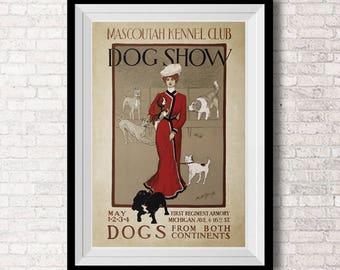 SET 2 Kennel Club - Exhibición canina  - Club de Mascotas - Ilustracion Vintage  - Mujer   - Decoracion - Poster -