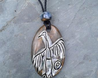 Big Crane Necklace Anasazi Pendant Blue Bronze Ceramic Petroglyph Hopi Native American Cave Art Ancient Rock Drawings Southwest