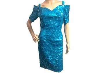 Women's RARE Vintage Lillie Rubin Blue Teal Sequin Polyester Dress size Medium