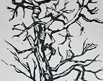 Prairie Tree Linocut Print