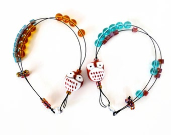 woodland owl - row counter abacus tool jewelry for knitters bracelet as seen in simply knitting magazine