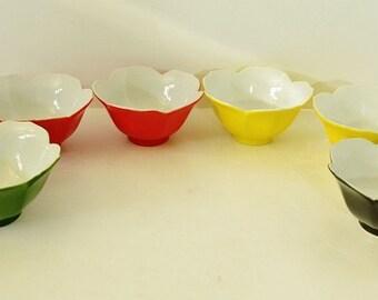 Colorful Vintage  Lotus Bowls - Rice / Dessert Bowls