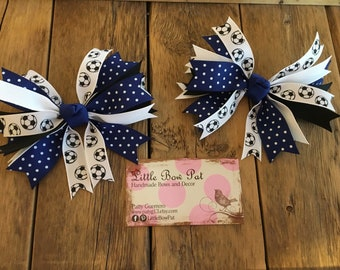 Soccer Spike Hair Bow Set for Pigtails