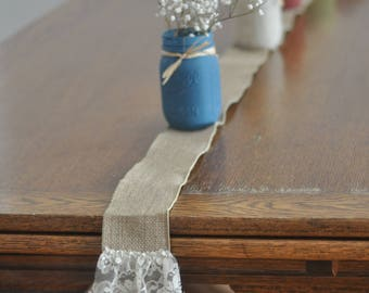 Thin Burlap & Lace Table Runner