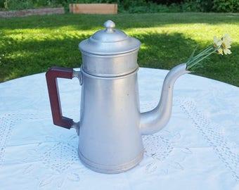 French vintage Filter Coffee Pot ,  Aluminum coffee maker, bakelite handle kitchen decor