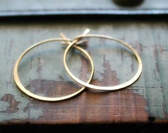 Golden Hoops, Thin wire Hoop Earrings, Gold filled Hoops, Lightweight Hoops, Hammered Earrings, Medium Size Hoops, Gift for her